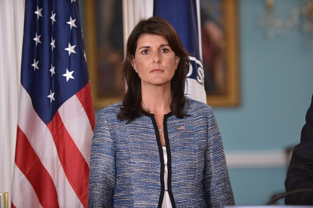 Ambassador Haley Listens on as Secretary Pompeo Delivers Remarks to the Press on the UN Human Rights Council